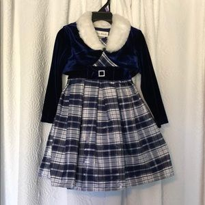 Jona Michelle blue & silver special occasion dress